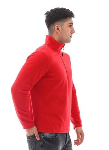 Emjey Yarım Fermuarlı Polar Ceket Kırmızı